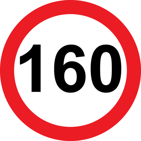 160 speed limitation road sign on white background Stock Photo