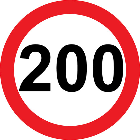 200 speed limitation road sign on white background