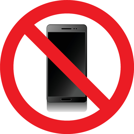 allowed: No smartphones allowed sign Stock Photo