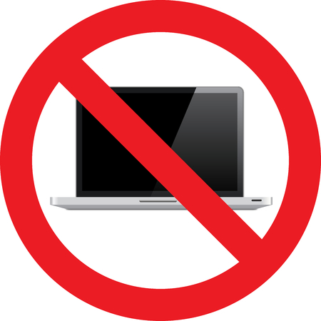 No Laptop allowed sign Stock Photo