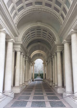 forced perspective: ROME, ITALY - FEBRUARY 1, 2015: Palazzo Spada the forced perspective gallery by Francesco Borromini. The baroque corridor is only nine meters long, but looks much longer