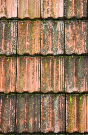 rooftile: Old red roof clay tiles in Portugal