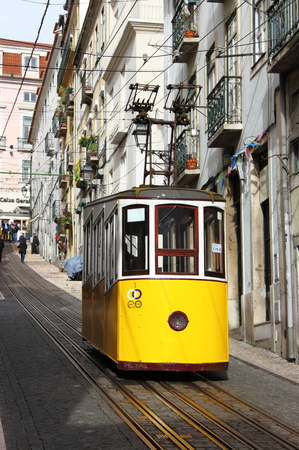LISBON, PORTUGAL - February 2, 2017: Gloria Funicular (Ascensor da Gloria)  in Lisbon on February 2, 2017. Lisbons Gloria funicular, classified as a national monument, opened in 1885 connects downtown with Bairro Alto Editorial
