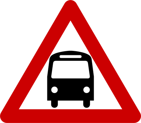 omnibus: Warning sign with bus symbol
