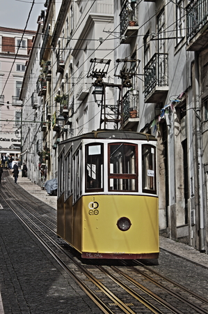 Gloria Funicular (Ascensor da Gloria)  in Lisbon. Lisbons Gloria funicular, classified as a national monument, opened in 1885 connects downtown with Bairro Alto