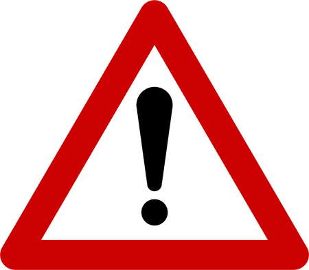 Warning sign with exclamation mark symbol Stock Photo