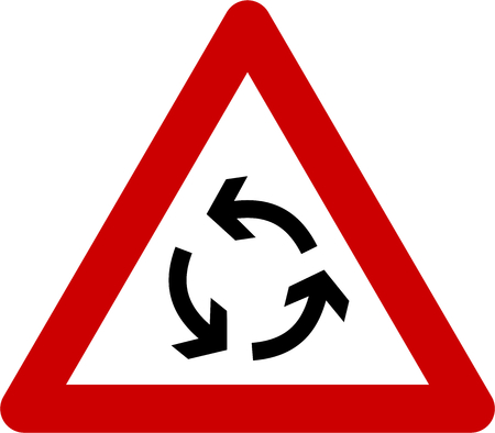 Warning sign with roundabout symbol