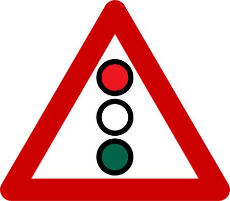 yellow beware: Warning sign with traffic light symbol