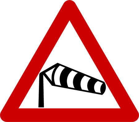Warning sign with crosswinds symbol