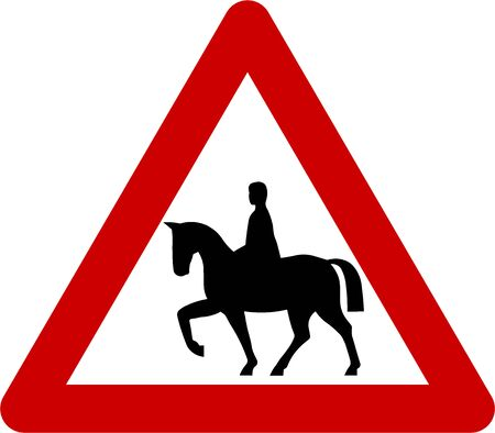 danger ahead: Warning sign with horse riders on road symbol Stock Photo