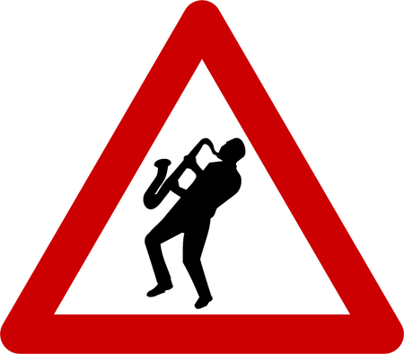 Warning sign with jazz musician symbol Stock Photo