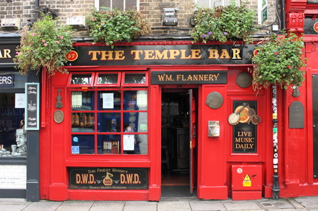 DUBLIN, IRELAND - SEPTEMBER 5, 2016: Temple Bar on September 5, 2016 in Dublin. Temple Bar is a famous landmark in Dublins cultural quarter visited by thousands of tourists every year Editorial
