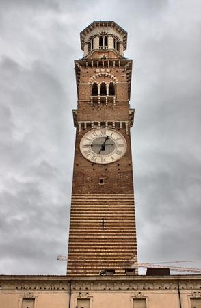 Lamberti tower in Erbe square. Verona, Italy