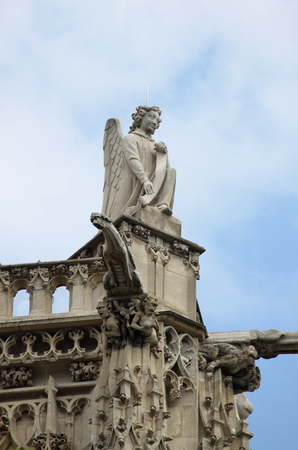 Angel statue in Saint-Jacques Tower. Paris, France Stock Photo