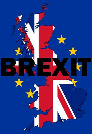 Brexit text with UK map written with UK and EU flag Stock Photo