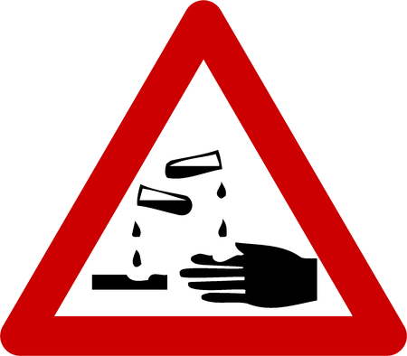Warning sign with corrosive substances symbol