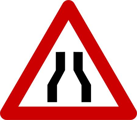 Warning sign with narrow road symbol Stock Photo