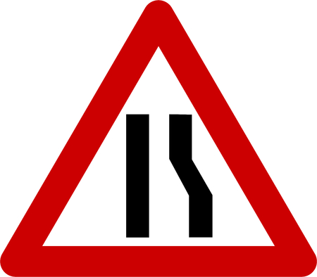 Warning sign with narrow road on right symbol Stock Photo