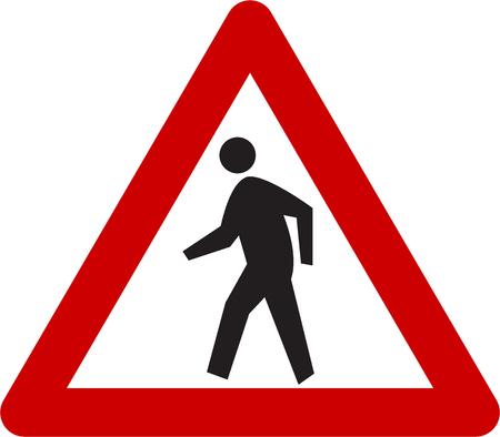 Waarschuwingsbord met voetgangerssymbool Stockfoto