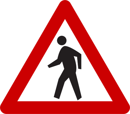 Warning sign with pedestrian symbol