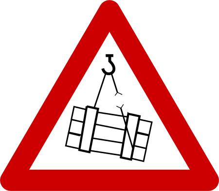 Waarschuwingsbord met hangende ladingen symbool