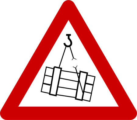 Warning sign with suspended loads symbol Banco de Imagens - 87649434