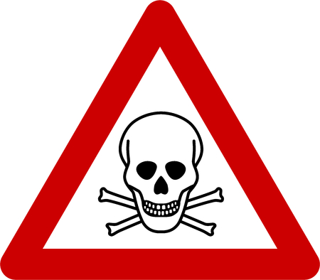 Warning sign with deadly danger symbol Stock Photo