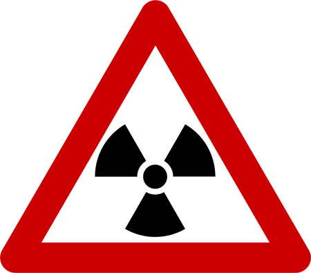 Warning sign with radiation symbol Stok Fotoğraf