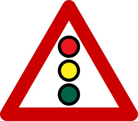 Warning sign with traffic light symbol