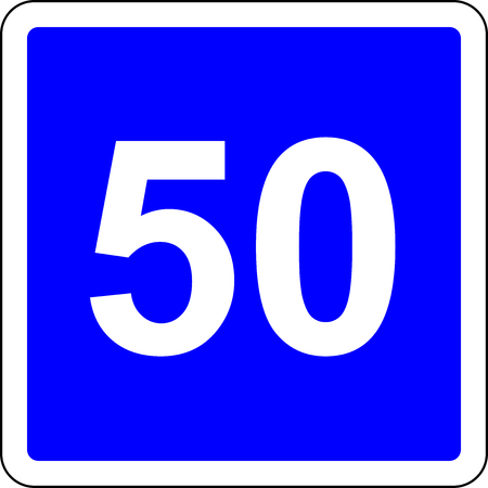 Road sign with suggested speed of 50 kmh