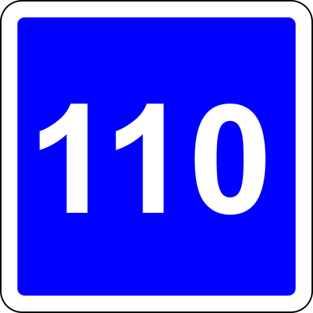 Road sign with suggested speed of 110 kmh