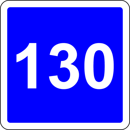 Road sign with suggested speed of 130 kmh Stock Photo
