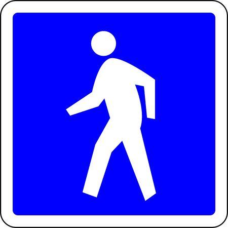 Pedestrian allowed blue road sign