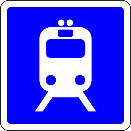 Train allowed blue road sign