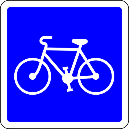 Bicycle allowed blue road sign Stock Photo