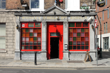 irish culture: DUBLIN, IRELAND - SEPTEMBER 5, 2016: The OReilly Bros Bar on September 5, 2016 in Dublin. The OReilly Bros Bar is a famous landmark in Dublins cultural quarter visited by thousands of tourists every year