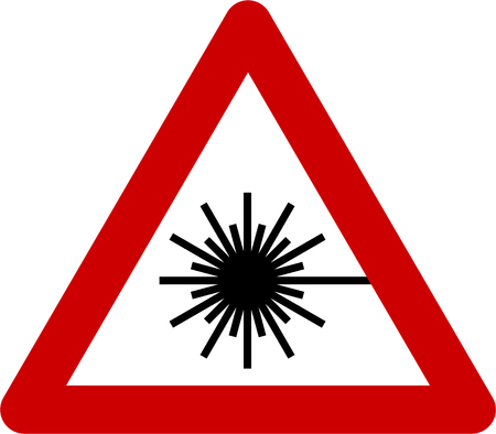 Warning sign with laser beam symbol Stock Photo