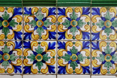 Traditional patterns of an andalusian Azulejo Stock Photo