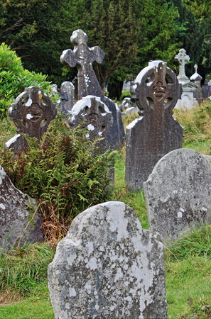 monastic: Tombstones in Glendalough, Ireland Stock Photo