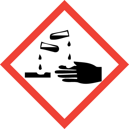 Hazard sign with corrosive substances symbol Stock Photo