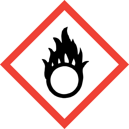 Hazard sign with oxidising substances symbol