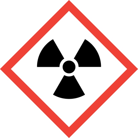 Hazard sign with radiation symbol