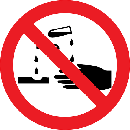 No corrosive substances allowed sign