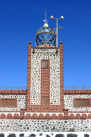 Entallada Lighthouse near Las Playitas in Fuerteventura Island, Spain Stock Photo