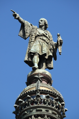 Statue of Christopher Columbus in Barcelona, Spain Editoriali