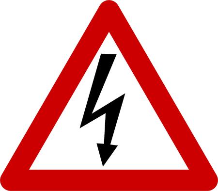 Warning sign with shock symbol