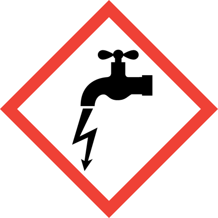 Hazard sign with electric leakage symbol