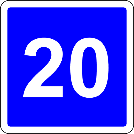 Road sign with suggested speed of 20 kmh