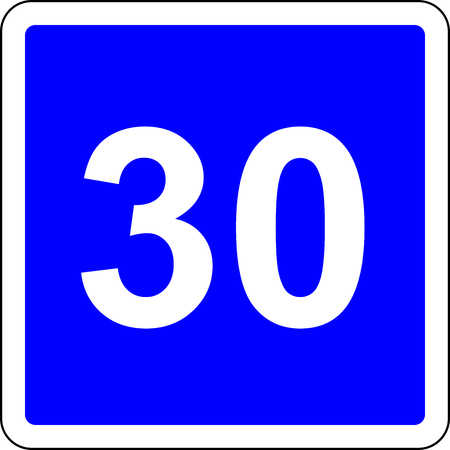 Road sign with suggested speed of 30 kmh Stock Photo