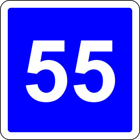 Road sign with suggested speed of 55 kmh